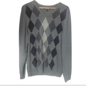 Apt. 9 merino wool sweater argyle gray print mens